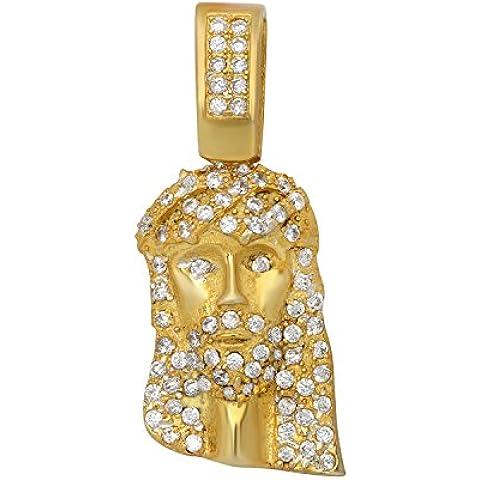 Da uomo placcata in oro argento mini Gesù piece Pendente/W Micro Pave Zirconia Cubica