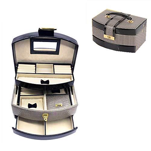 Leder-Schmuckkästchen, Organizer, Reise-Schmuckkoffer mit Schloss, 3 Schichten mit Spiegel für Ringe, Ohrringe, Halsketten, Armbänder