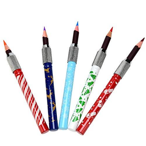 Stiftverlängerung 5er Set Stifterweiterung für Buntstifte - Winter und Weihnachtsmuster