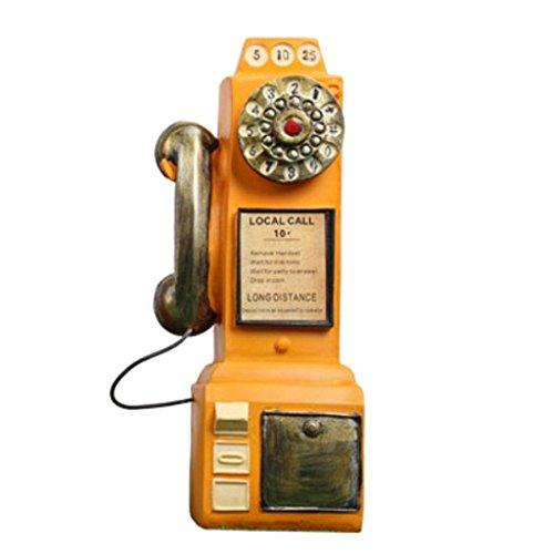 MagiDeal Alt Telefon -Design Münze Bank Geld Sparen Box Sparschweine Gelddose, aus Harz - Gelb (Altes Geld Und Münzen)