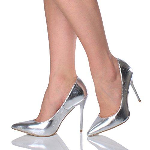 Donna tacco alto lavoro festa elegante scarpe de moda décolleté a punta taglia Argento metallizzato