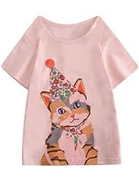 Mitlfuny Niños Camisetas de Manga Corta Verano Ropa Pascua Dibujos Animados Conejo Estampado Casual Camisas Cuello Redondo Blusas de Algodón para Bebé Niña Niño Tops 2-8 Años