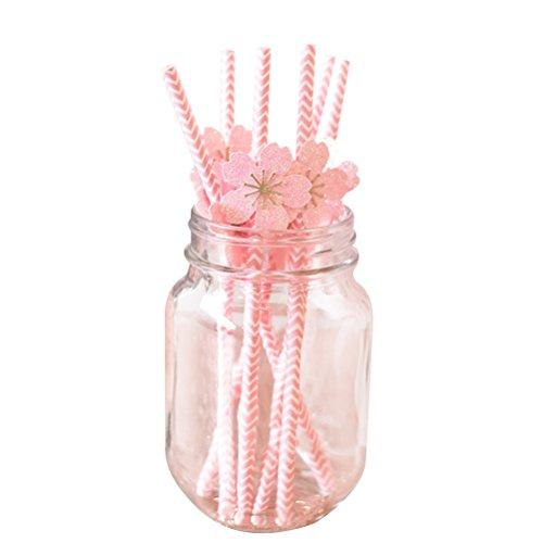 bestoyard Trinkhalme mit Plum Blossom Blume Papier Trinkhalme Einweg Sweet Trinken Papier Trinkhalme für Hochzeit Geburtstag Party Supplies Pack 6 -