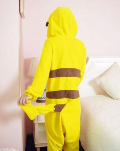 Super9COS Pokemon Pikachu Kigurumi Pajamas Adult Anime Cosplay Halloween Costume ,size L (68' -70')