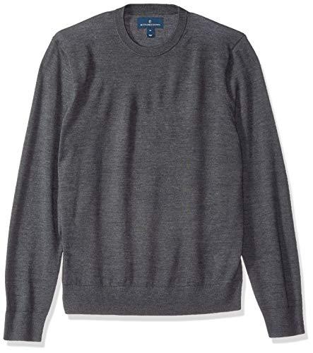 Amazon-Marke - Buttoned Down Herren-Pullover aus italienischer Merinowolle, leicht, Rundhalsausschnitt., Grau(dark grey), US XL (EU XL - XXL) -