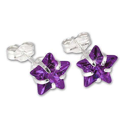 Orecchino SterlinX/orecchini donna - forma di stella con zirconi viola - in 925 argento Sterling D1SDO513V