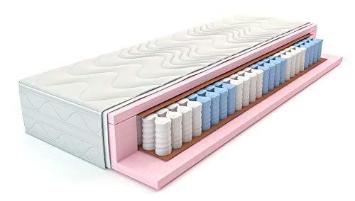 Tonnentaschenfederkernmatratze XXL 90 x 200 cm in H3 Premium-Qualität 7-Zonen Taschenfederkern-matratze, Höhe 22 cm, Aloe Vera Bezug