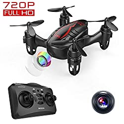 DROCON Mini Drohne– Ferngesteuerte RC Quadrocopter mit 720P HD Kamera, Kopflosmodus, einfach trimmbar, 360 Grad Flip für Anfänger und Kinder (Schwarz)