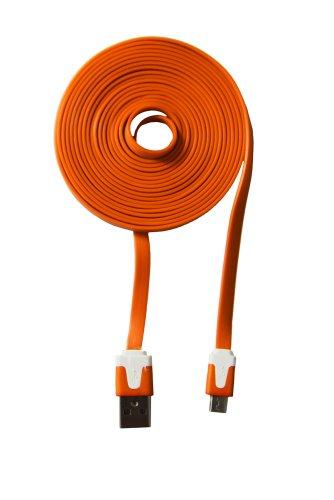 com-four® Ladekabel USB auf Micro USB Stecker für Ihr Smartphone Flachkabel 3 Meter (Orange)