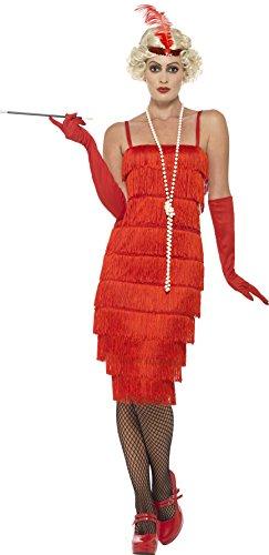 Smiffy's 45501L - Damen Flapper Kostüm, Langes Kleid, Haarband und Handschuhe, Größe: 44-46, (Kostüm Red Flapper)