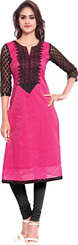Twinkal Women's Chanderi Silk Straight Kurta / Kurti (TWKR0258_XL, Pink, XL)  available at amazon for Rs.690