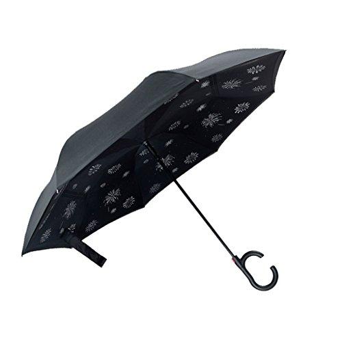 YDYLZC- Reverse Umbrella   Regenschirm im Freien   Regenschirm   Starke Hände frei Anti-Bone-Regenschirm automatisch öffnen   Auto Regenschirm   Kann Doppelschicht Regenschirm stehen weich (Klar Natürlich Peeling)