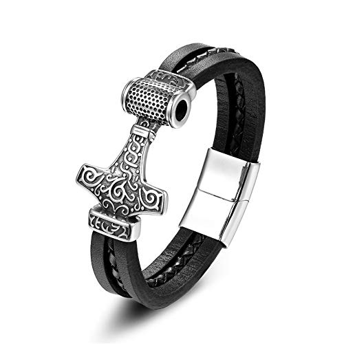 Guojiahao Men, Stainless Steel, Wolf, Thor, Hammer, Leather Bracelet, Punk Style, Buckle, Bracelet, Jewelry Gift, 21.5 cm