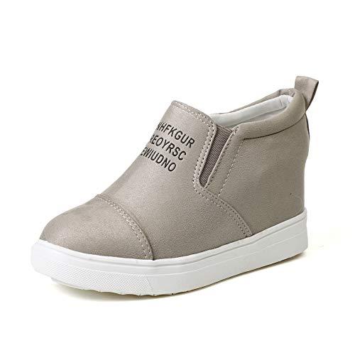 Sneakers Donna Zeppa Interna PelleAlta Platform Scamosciato StivalettiTacco 7 CM Mocassini Piatto Scarpe Eleganti Moda Kaki 35