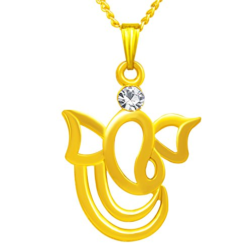 Om Jewells Unisex Solitaire Religious Ganpati Bappa God Pendant with Chain PD1000802