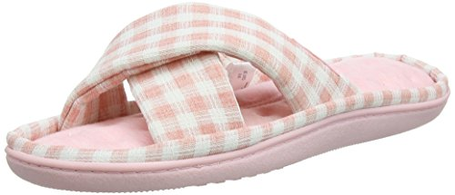 Isotoner Damen Ladies Jersey C/Front Slipper Pantoffeln Pink (Pink)