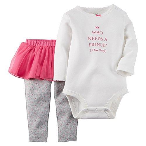 Carters Baby Girls 2-Piece Bodysuit & Tutu Pant Set Lil Princess Pink 24M by Carter's