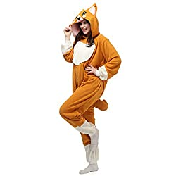 Casa Adult Pajamas - Unisex Fleece Onesie Sleepsuit Animal Onesies Kigurumi Hooded Pyjama Nightwear Costume One-Piece Dog S-XL