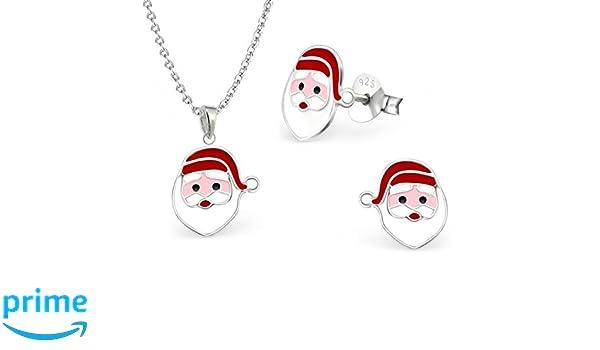 Weihnachtsmann Ohrringe Nikolaus Ohrstecker Creolen Damen Kinder 925 echt Silber