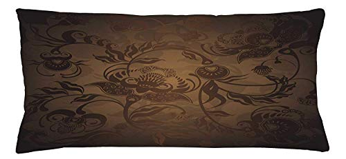 fjfjfdjk Floral Paisley Ivy Design Leaves with Abstract Details Ancient PrintVictorian Throw Pillow Cushion Cover Decorative Square Accent Pillow Case 18 X 18 Inches Seal Brown Chocolate - Body Contour Spa