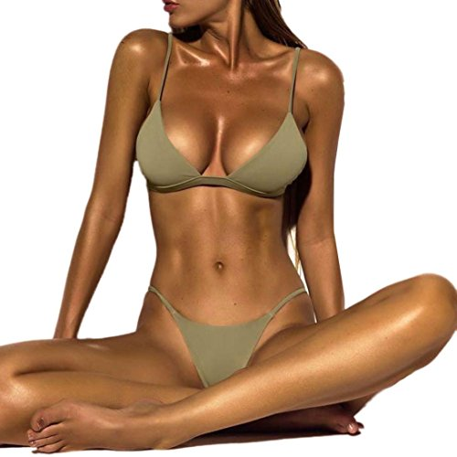 Bikini Set Rosennie Damen Triangel Bandeau Frauen Sexy Push-Up Gepolsterte BH Badeanzug Solid Color Tankini Bademode String Swimsuit Zweiteilige Herausnehmbaren Beachwear Brasil Serie (S, Grün)