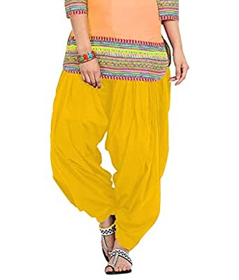 Womens Solid Cotton Mix Best Indian Ethnic Comfortable Readymade Punjabi Semi Patiala Salwar (Free Size)