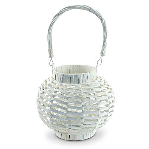 Rattan Laterne Windlicht weiß Kerzenhalter Kerzenständer Teelicht-Halter Deko XL Rattan-halter