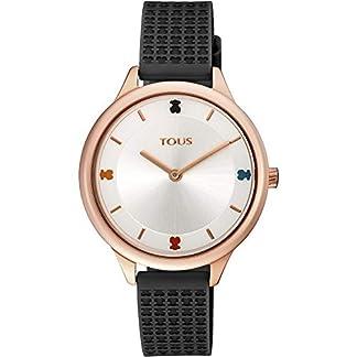 Reloj Tous 900350125 Tartan de Acero IP Rosado con Correa de Silicona Negra