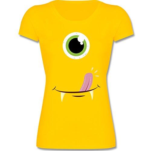 Kinder - Monster Gesicht Kostüm - 164 (14-15 Jahre) - Gelb - F288K - Mädchen T-Shirt (Coole Kostüme Für Teenager Mädchen)