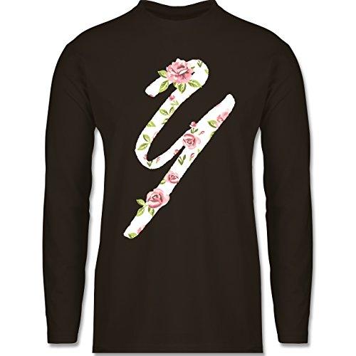 Anfangsbuchstaben - Y Rosen - Longsleeve / langärmeliges T-Shirt für Herren Braun
