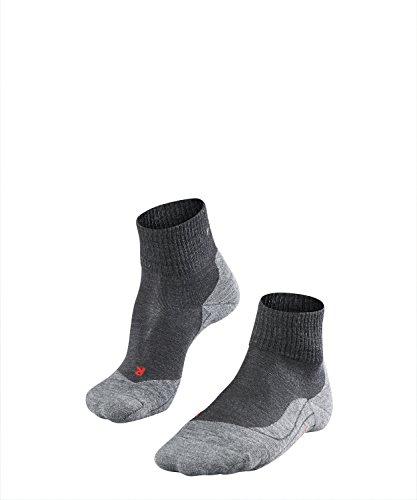 FALKE TK5 Short Herren knöchel-high Trekkingsocken / kurze Wandersocken - grau, Gr. 44-45, 1 Paar, leichte Polsterung, Merinowolle -