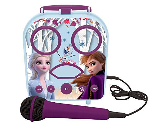 Lexibook- Disney La Reine des Neiges Elsa & Anna Mon Enceinte secrète Portable sans Fil, avec Microphone, Prise Jack, Ports TF/SD, Bleu, BTC050FZ