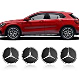 DigHealth 4 Nabenkappen mit Mercedes Benz-Logo, 75mm Durchmesser Radkappen, Schwarz Ersatzteil Radnabenkappen, Felgenkappen Nabenkappen Wheel Caps Radnabenabdeckung, Nabendeckel für Alufelgen