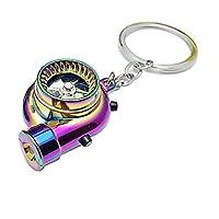 سلسلة مفاتيح حلقية تيربو كهربائية قابلة لاعادة الشحن بضوء ليد وقداحة وصوت صمام التشغيل للسيارات ومحبي سباقات السرعة بالوان رائعة