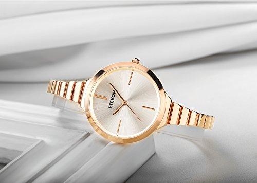 ETEVON Women's Quartz Rose Gold Armband Uhr mit High-End Edelstahl Case, elegante Luxus-Gold-Tone Kleid Handgelenk Uhren für Damen - 3