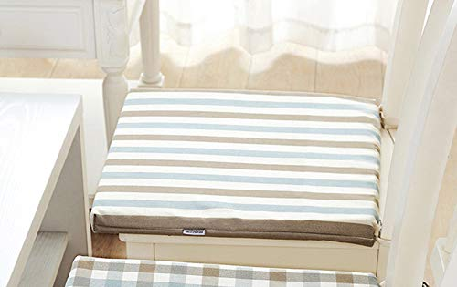 KongEU Sitzkissen, gestreift & kariert, 40 x 40 cm, mit Bändern, Griff zur Befestigung am Stuhl -
