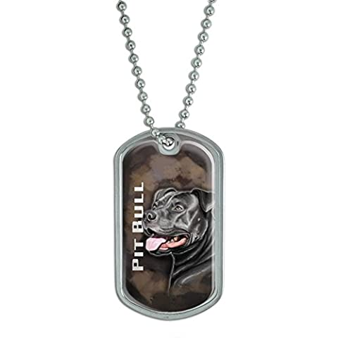 Pit Bull Noir – American Staffordshire Terrier DOG Pet Militaire de Pitbull Dog Tag bagages