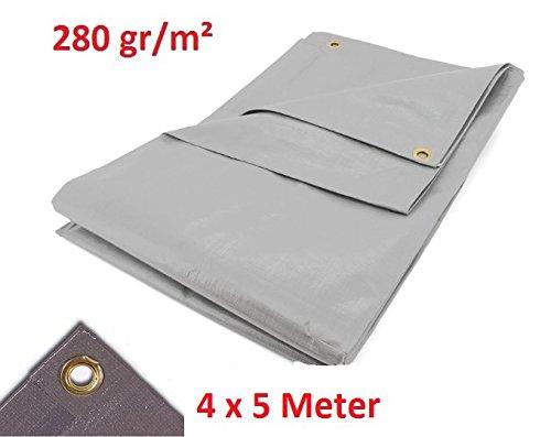 Miko® Super Gewebeplanen 4 x 5 m grau 280g/m² 20 m² Abdeckplane 100% wasserdicht.