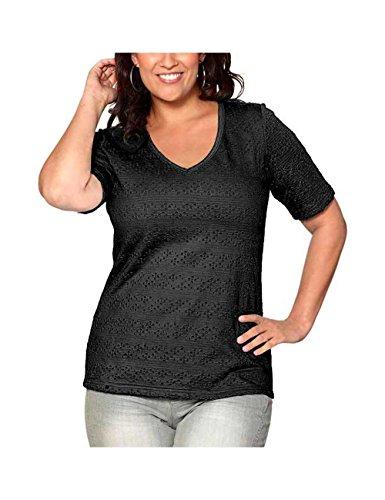 Sheego -  T-shirt - Opaco - Donna Nero