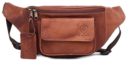J. Wilson London Travel Bum Bag - Riñonera interior de piel  Unisex adulto Marrón marrón Talla única