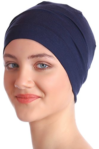 Unisex Kappe Aus Baumwolle für Krebs, Haarverlust - Schlafmütze (Denim Blau) (Unisex Kopfbedeckung)