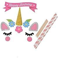 Fligatto Decoración para tartas de unicornio, decoración para tartas de fiesta, decoración para tartas
