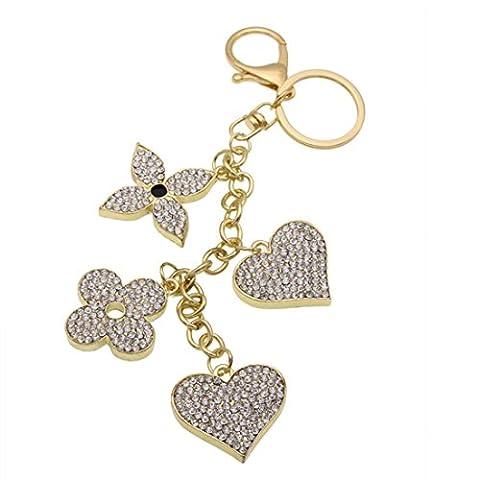 KesiErte Européenne Mode Love Leaf Rhinestone Keychain Creative Bag Pendentif Pendentif Porte-clés ,