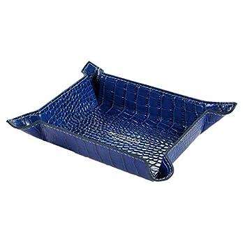 PROGRESSIO Lagerbehälter/Ablagescahle in echtem Leder – Handmade in Italy – blau