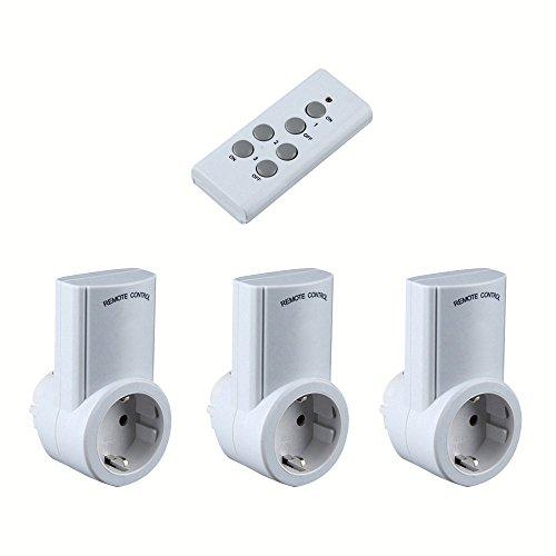 Alxcio Steckdose Kit mit Fernbedienung EU Plug Funksteckdosen Schalter für Home Automation Lampen Leuchten TV Computer Heizung und alle Unterhaltungselektronik,Packung mit 3 Stecker,1 Controller