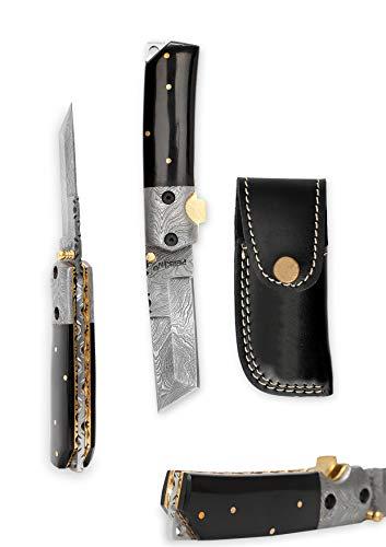Perkin Damaststahl Taschenmesser - Damast Klappmesser mit Ledertasche