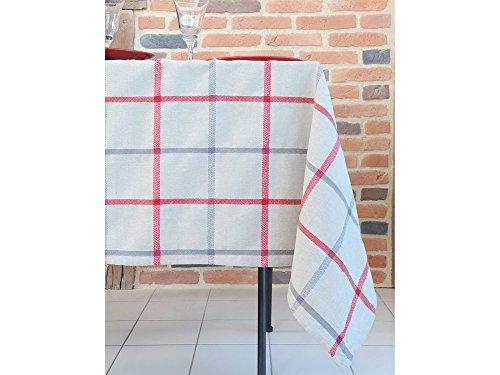 STOF Nappe 100% Coton Motif Carreau tartant 150x250cm PURPY Rouge