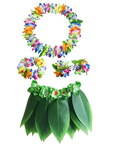 Yuhualiyi123 5 Teile/Satz Hawaiian Künstliche Tropische Blätter Blume Rock Hula Boho Party Hawaii Dekoration Kranz Rock Strandurlaub Kostüm (Color : C10, Size : Child)