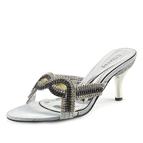 Kick Footwear - Donna tacco basso diamante scarpe tacchi glitter di nozze Womens partito prom shoes Argento - 2