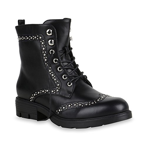 Damen Schuhe Stiefeletten Schnürstiefeletten Leicht Gefütterte 151135 Schwarz Nieten 37 Flandell